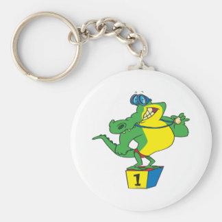 funny swimmer champ alligator crocodile key ring