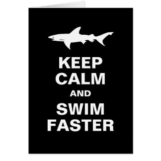 Funny Swimmer or Surfer Keep Calm Shark Attack Card