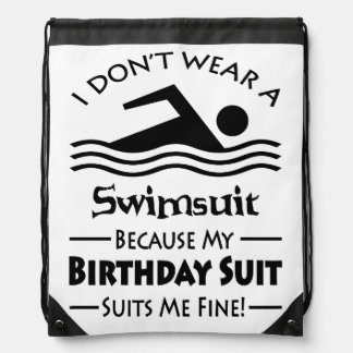 Funny Swimming Drawstring Bag