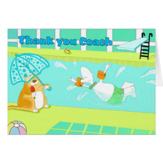 Funny swimming thank you coach card