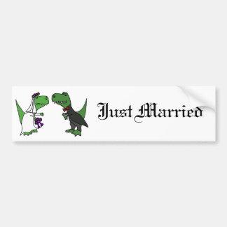 Funny T-rex Dinosaur Bride and Groom Wedding Art Bumper Sticker