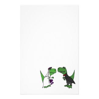 Funny T-rex Dinosaur Bride and Groom Wedding Art Customized Stationery