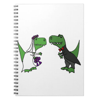 Funny T-rex Dinosaur Bride and Groom Wedding Art Spiral Note Books