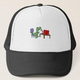Funny T-rex Dinosaur on Ham Radio Trucker Hat