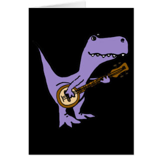 Funny T-rex Dinosaur Playing Banjo Card