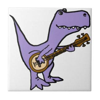 Funny T-rex Dinosaur Playing Banjo Ceramic Tile