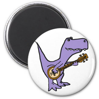 Funny T-rex Dinosaur Playing Banjo Magnet