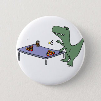 Funny T-rex Dinosaur Playing Beer Pong 6 Cm Round Badge