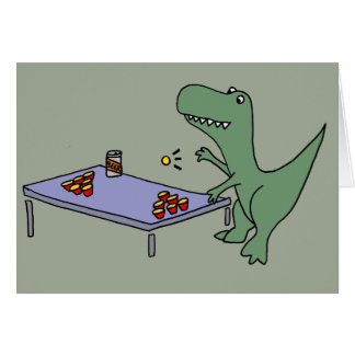Funny T-rex Dinosaur Playing Beer Pong Card