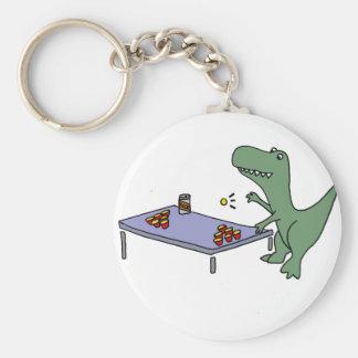 Funny T-rex Dinosaur Playing Beer Pong Key Ring