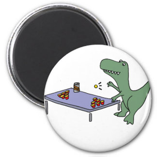 Funny T-rex Dinosaur Playing Beer Pong Magnet