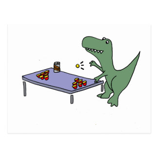 Funny T-rex Dinosaur Playing Beer Pong Postcard