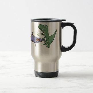 Funny T-rex Dinosaur Playing Beer Pong Travel Mug