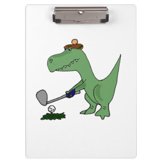 Funny T-Rex Dinosaur Playing Golf Clipboards