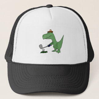 Funny T-Rex Dinosaur Playing Golf Trucker Hat