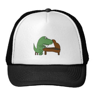 Funny T-Rex Dinosaur Playing Piano Cap