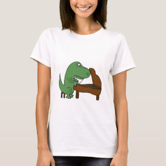 Funny T-Rex Dinosaur Playing Piano T-Shirt