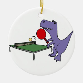 Funny T-Rex Dinosaur Playing Ping Pong Ceramic Ornament