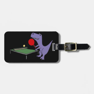 Funny T-Rex Dinosaur Playing Ping Pong Luggage Tag