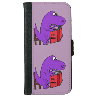 Funny T-Rex Dinosaur Reading Cookbook iPhone 6 Wallet Case