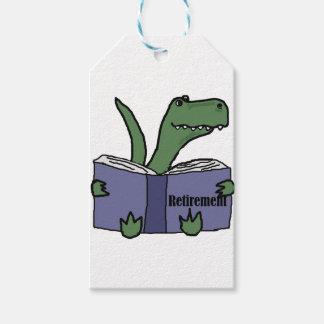 Funny T-rex Dinosaur Reading Retirement Book Gift Tags