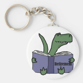 Funny T-rex Dinosaur Reading Retirement Book Key Ring