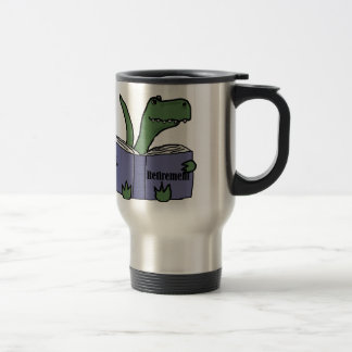 Funny T-rex Dinosaur Reading Retirement Book Travel Mug