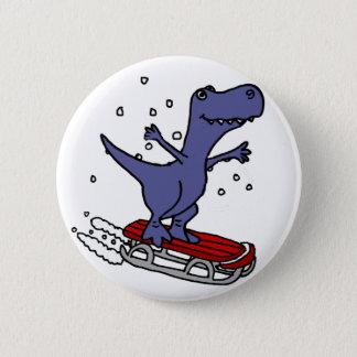 Funny T-rex Dinosaur Sledding Cartoon 6 Cm Round Badge
