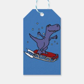 Funny T-rex Dinosaur Sledding Cartoon Gift Tags