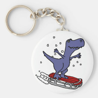 Funny T-rex Dinosaur Sledding Cartoon Key Ring
