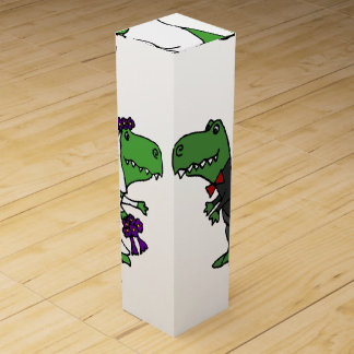 Funny T-rex Dinosaurs Bride and Groom Wedding Art Wine Gift Box