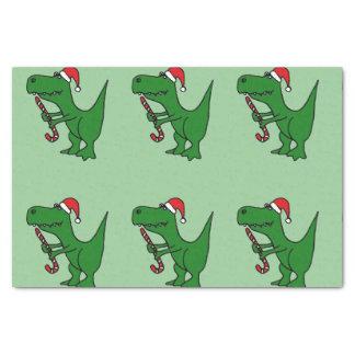 Funny T-Rext Dinosaur in Santa Hat Tissue Paper