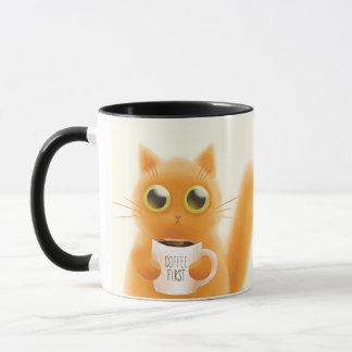 Funny Tabby Cat Holding Mug. Mug within a Mug.