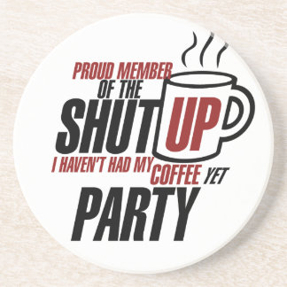 Funny tea party humor beverage coasters