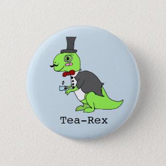 Funny 'Tea-rex' Dinosaur 6 Cm Round Badge