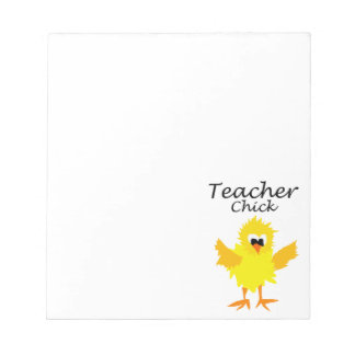 Funny Teacher Chick Art Design Notepad