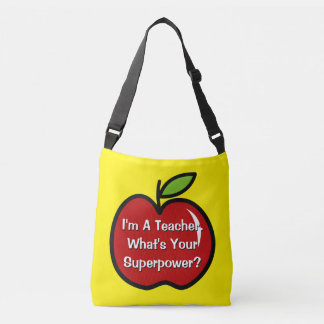 Funny teacher quote and red apple cross body bag