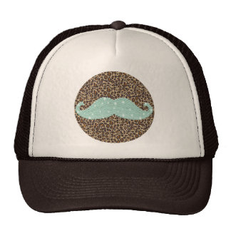 Funny Teal Green Bling Mustache And Animal Print Cap