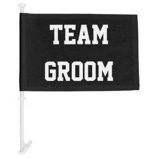 Funny team groom wedding car window flag