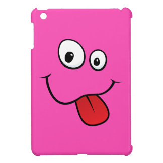 Funny teasing hot pink cartoon smiley face funny iPad mini cases