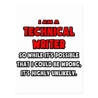 Funny Technical Writer .. Highly Unlikely Postcard