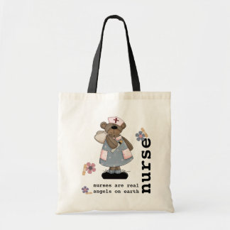 Funny Teddy Bear Nurse design Tote Bags
