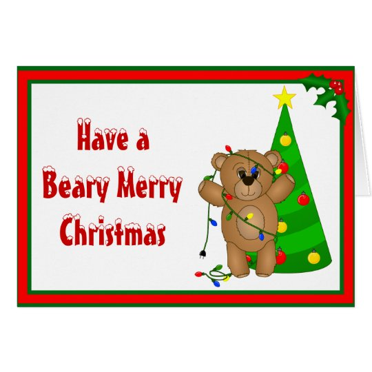 Funny Teddy Bear Tangled in Christmas Lights Card