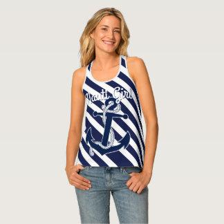 Funny Text Dark Blue White Anchor Stripes pattern Singlet