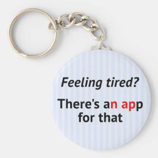 Funny text stripe geek basic round button key ring
