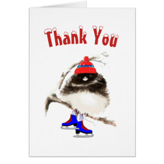 Funny, Thank You, Ice Skating  Sport Bird Card