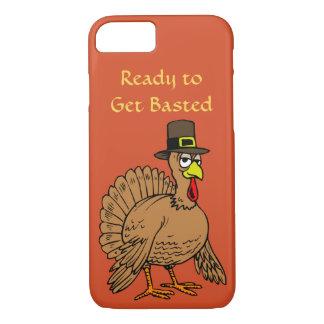 Funny Thanksgiving Get Basted Cute Turkey Pilgrim iPhone 8/7 Case