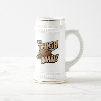 Funny Thanksgiving Thigh Man T-Shirts 18 Oz Beer Stein