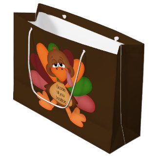 Funny Thanksgiving turkey large gift bag