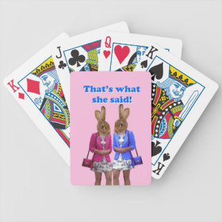 Funny that s what she said text bicycle card decks